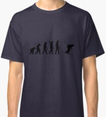 Human evolution of skiing man Classic T-Shirt