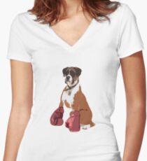 Camiseta entallada de cuello en V Perro Boxer