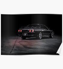 Black R32 Nissan Skyline GTR - Lightpainted Poster