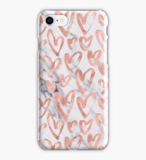 Valentines Day Rose Gold Marble Hearts Pattern Romantic iPhone Case/Skin