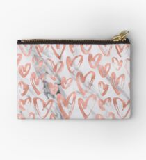 Valentines Day Rose Gold Marble Hearts Pattern Romantic Studio Pouch