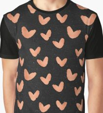 Valentines Day - Rose Gold Hearts on Black Background - Romantic Design Graphic T-Shirt