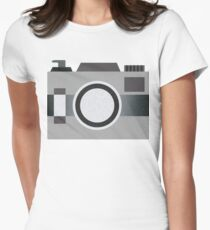 Retro Old-time Camera, Gray Womens Fitted T-Shirt