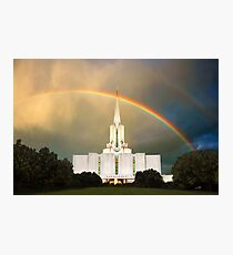 Jordan River Temple Under the Rainbow 30x20 Photographic Print