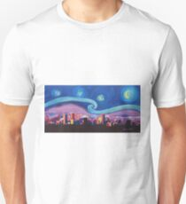 Starry Night in Denver Colorado Van Gogh inspired Skyline w. luminous Rocky Mountains  Unisex T-Shirt