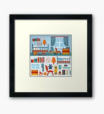 Children Bedroom Interior with Furniture and set of Toys Framed Print