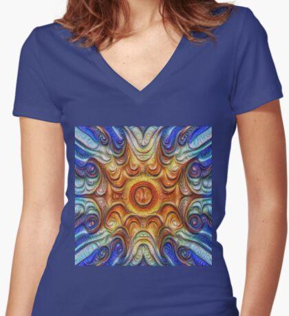 Frozen Sun #DeepDream #Art Fitted V-Neck T-Shirt