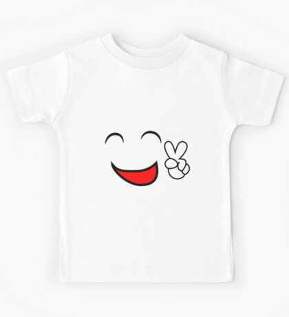 Emoticon smiling face showing peace sign Kids Tee