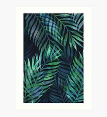Dark green palms leaves pattern Art Print