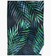 Dark green palms leaves pattern Poster