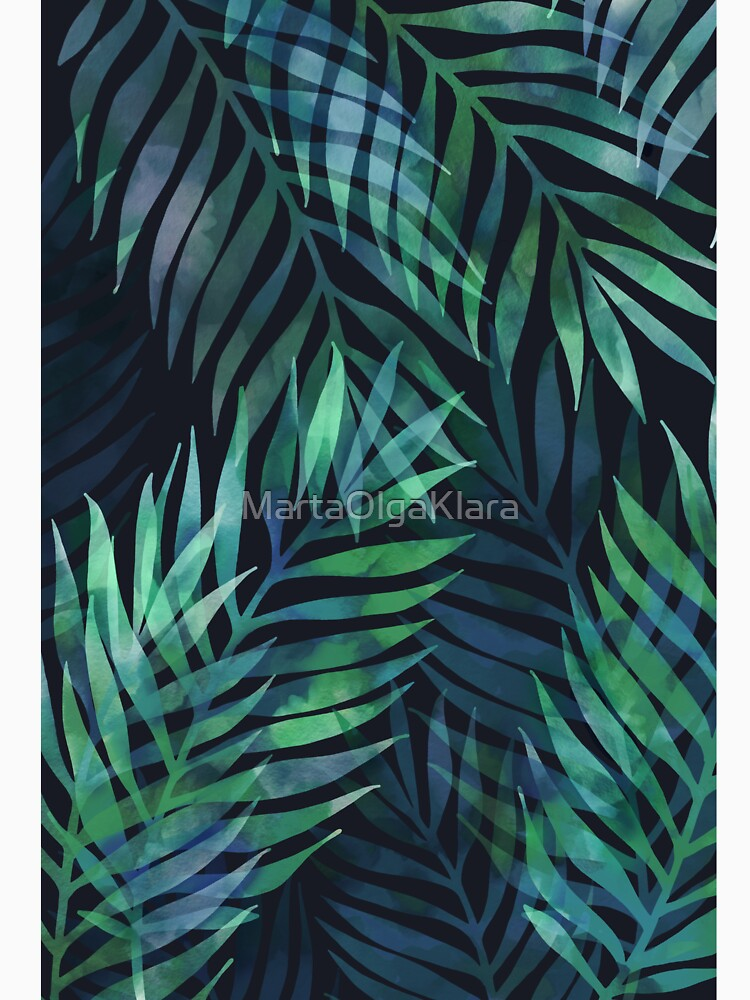Dark green palms leaves pattern by MartaOlgaKlara
