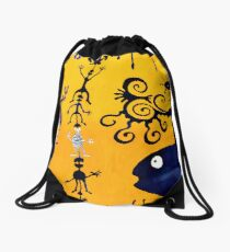 This is a yellow-blue dream Drawstring Bag