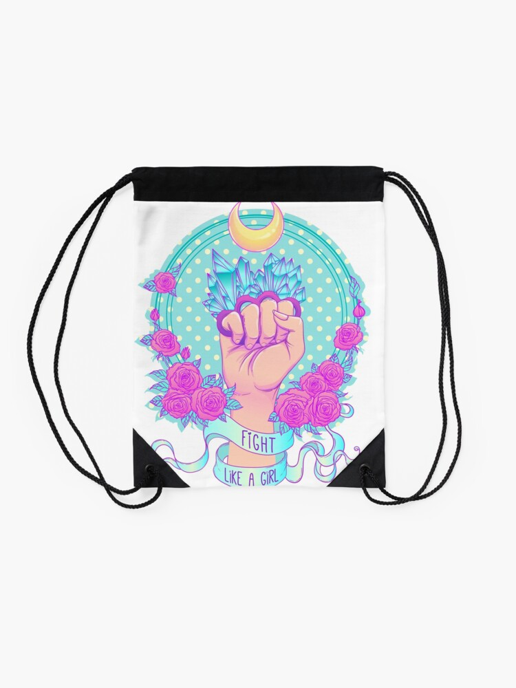 Alternate view of Fight Like A Girl Drawstring Bag