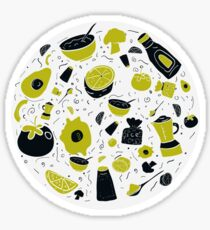 Food circle illustration with healthy doodle design vegetables like avocado, tomato Sticker