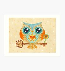 Owl's Summer Love Letters Art Print