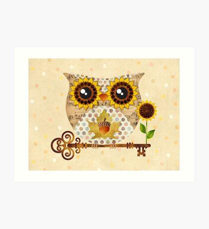 Owl's Autumn Song Art Print