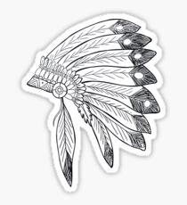 Native american indian headdress illustration Sticker