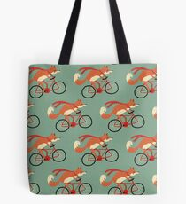 fox on the bicycle pattern Tote Bag