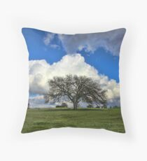 Tree of Life Style Oak Tree and Coluds Throw Pillow
