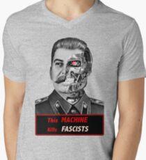 Stalinator - this machine kills fascists Mens V-Neck T-Shirt