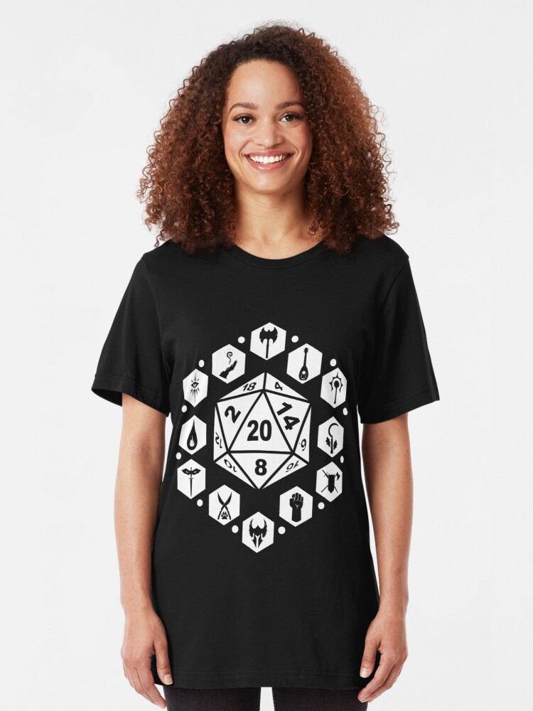 Alternate view of RPG Classes - White Slim Fit T-Shirt