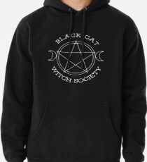 Black Cat Witch Society (white version) Pullover Hoodie