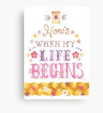 Tangled Typography Wann wird mein Leben beginnen Leinwanddruck