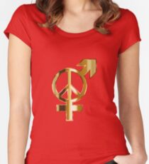 Man and woman united in peace Women's Fitted Scoop T-Shirt