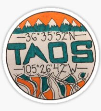 Taos, NM Coordinates Sticker