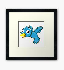 Adorable blue cartoon bird Framed Print