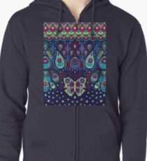 Midnight butterflies - Bohemian pattern by Cecca Designs Zipped Hoodie