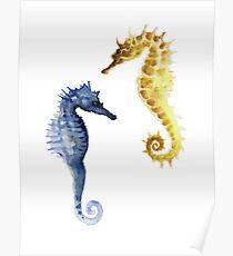 Seahorses Kunstdruck Aquarellgrafik, aquatische Wohnkultur Poster