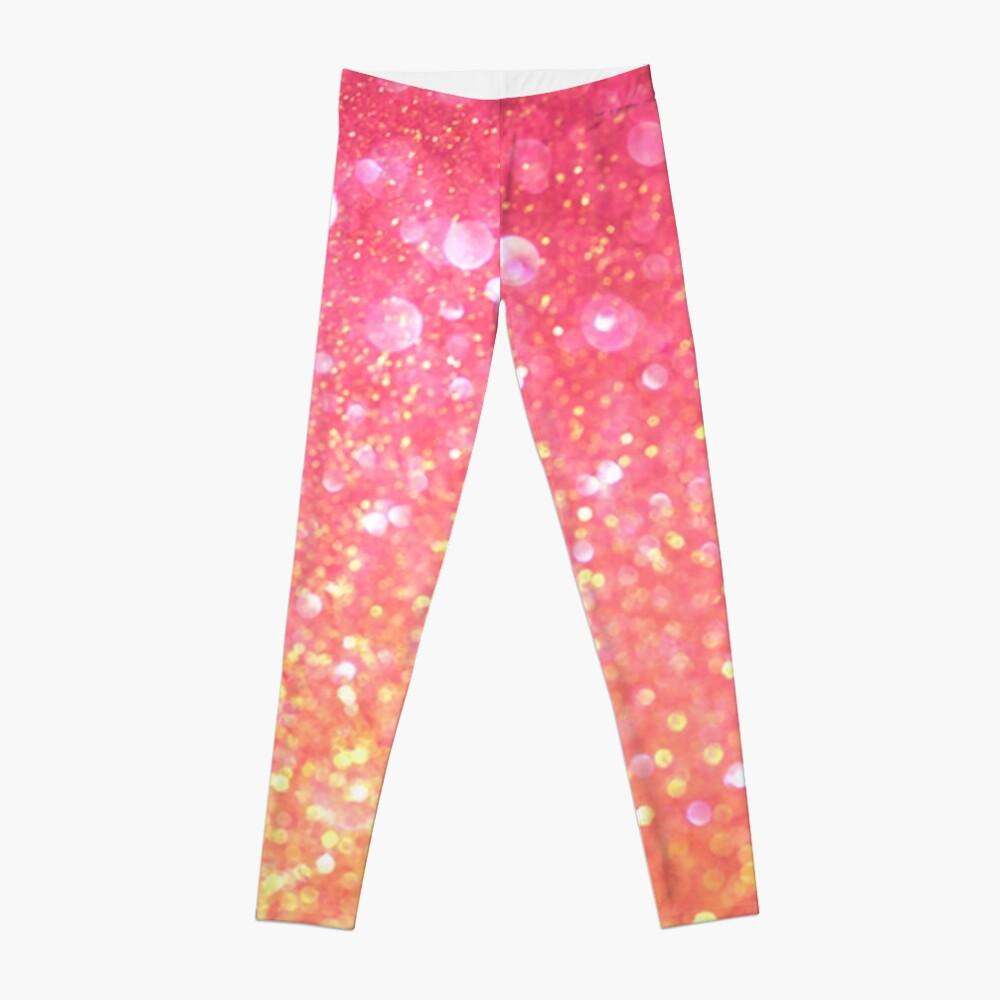 Glam,glitter,pink,orange,yellow,cute,girly,pattern Leggings