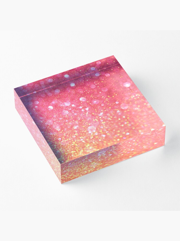 Alternate view of Glam,glitter,pink,orange,yellow,cute,girly,pattern Acrylic Block