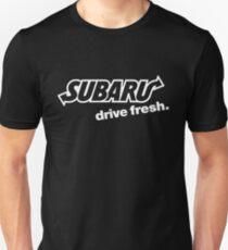 "Subaru Subway Logo ""Drive Fresh"" (white) Slim Fit T-Shirt"