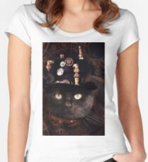 Steampunk Funny Cute Cat Women's Fitted Scoop T-Shirt