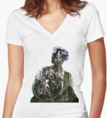 PSYCHODELIC ROCK Women's Fitted V-Neck T-Shirt