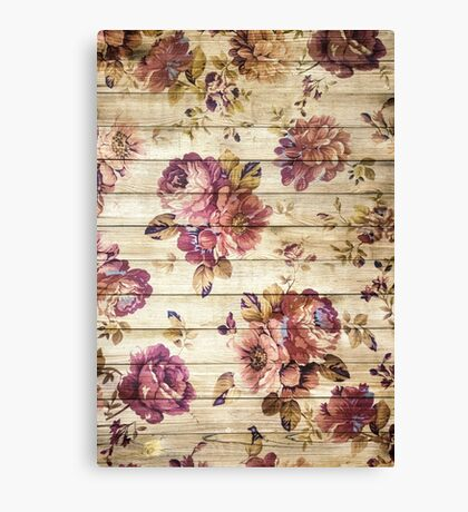 Vintage roses on wooden wall Canvas Print