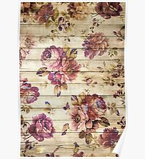 Vintage roses on wooden wall Poster