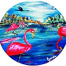 Wild Flamingos  by WhiteDove Studio kj gordon