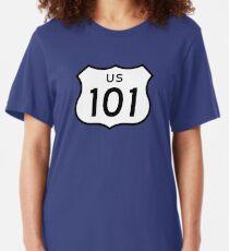 US Route 101 Sticker Slim Fit T-Shirt