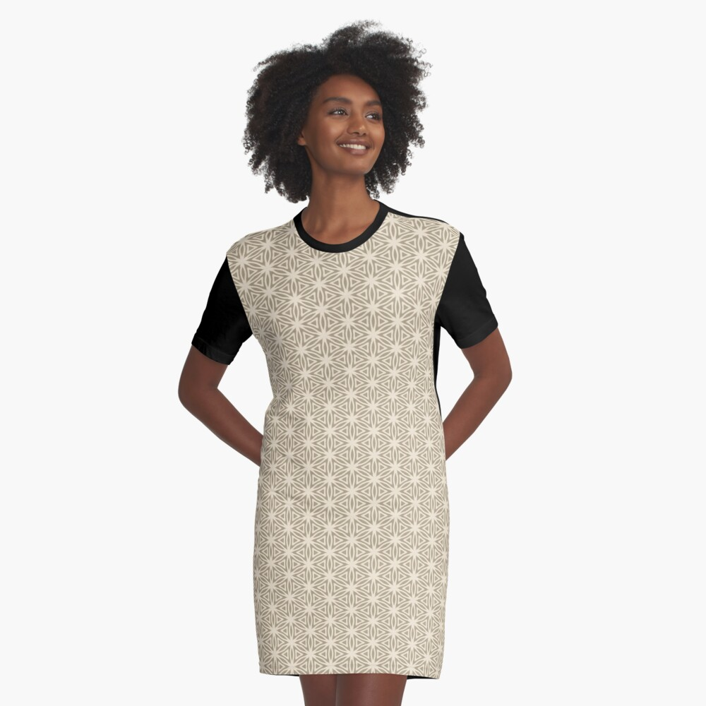 Taupe Snowflake Graphic T-Shirt Dress