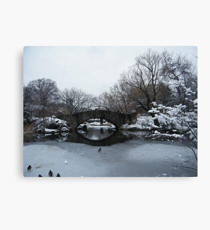 Bridge Over Lake, Snow-Covered Central Park  Canvas Print