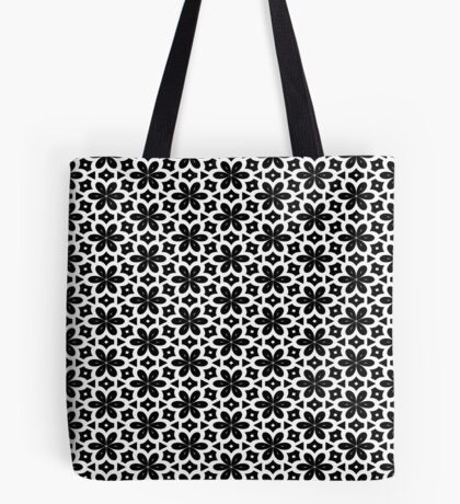 Black & White Flower  Tote Bag