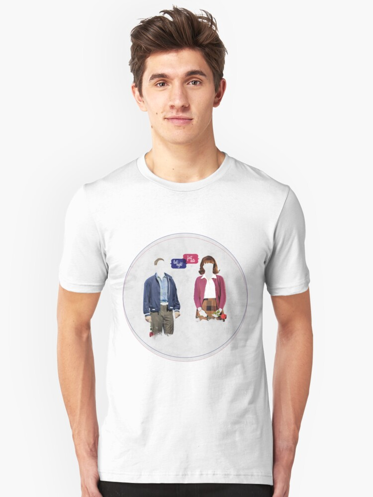 """""""First Date, Last Night"""" (circle background) Unisex T-Shirt Front"""