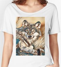 My Creative Design of a Grey Timber Wolf Women's Relaxed Fit T-Shirt