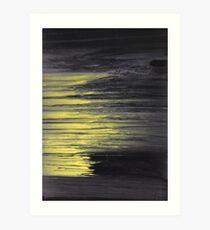 Acrylic pouring - yellow, grey, black Art Print
