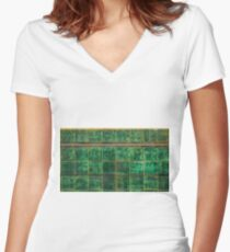 Old Green Tiles Women's Fitted V-Neck T-Shirt
