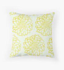 Yellow dahlia pattern on white background Throw Pillow