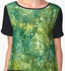 Alcohol ink - green, lime, yellow Women's Chiffon Top